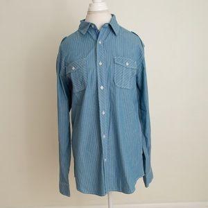 NWOT Men's Button-Up Striped Shirt